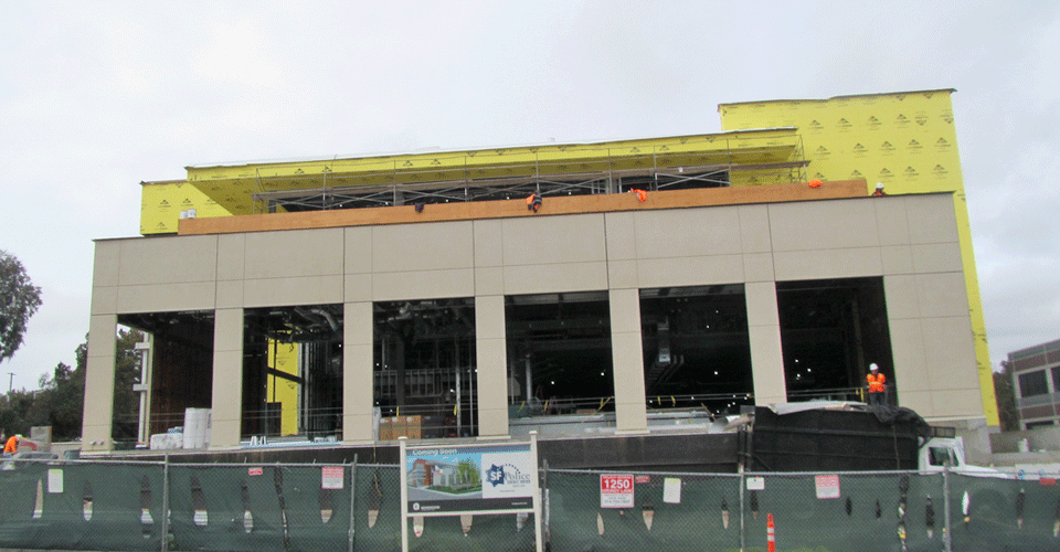 A front view of the construction progress