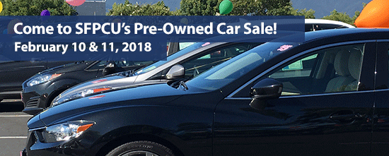 SFPCU Car Sale February 10th and 11th, 2018