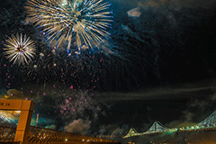 Fireworks over the Bay Bridge