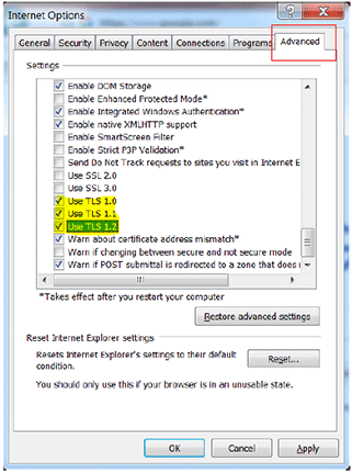 Internet Explorer TLS Settings