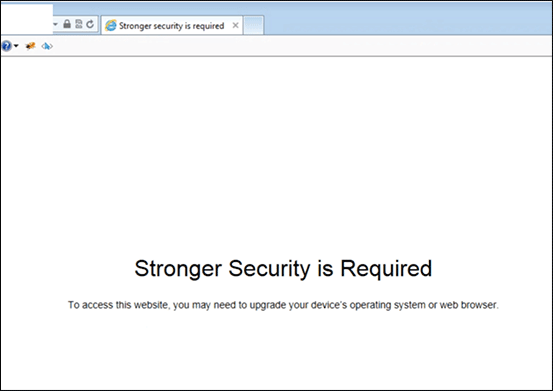 Stronger Security Required Message