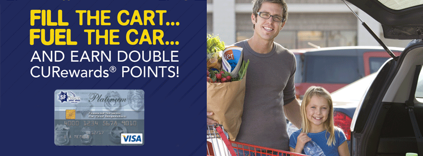 "A father and daughter loading groceries in the car with a banner that reads ""Fill the cart, fuel the car, and earn double CURewards points!"""